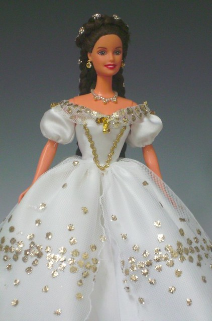 Sissi Barbie in white gown with golden pricks  Flickr