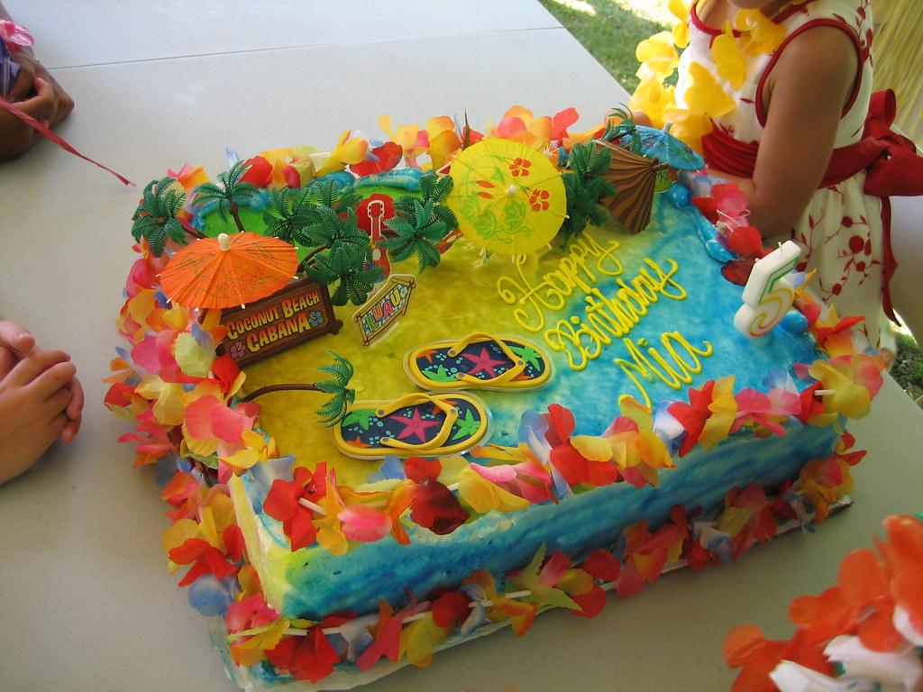 Mia's Hawaiian Luau Birthday Party Cake  A Photo On
