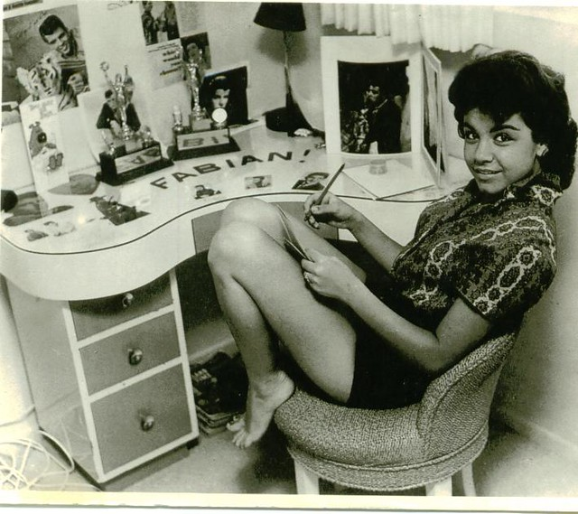 Annette Funicello in her dressing room