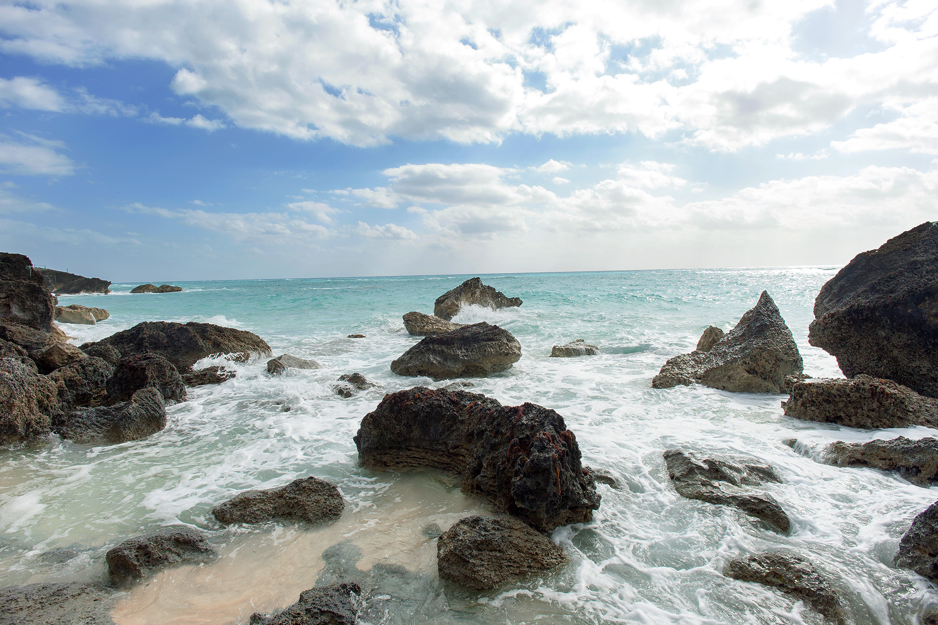 Dramatic rocks on the beach.