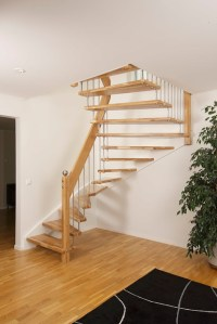 Open timber stair with white wall stringer | Flickr ...