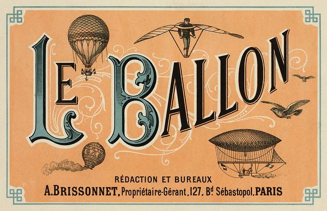 Le Ballon, advertising for French aeronautical journal, ca. 1883