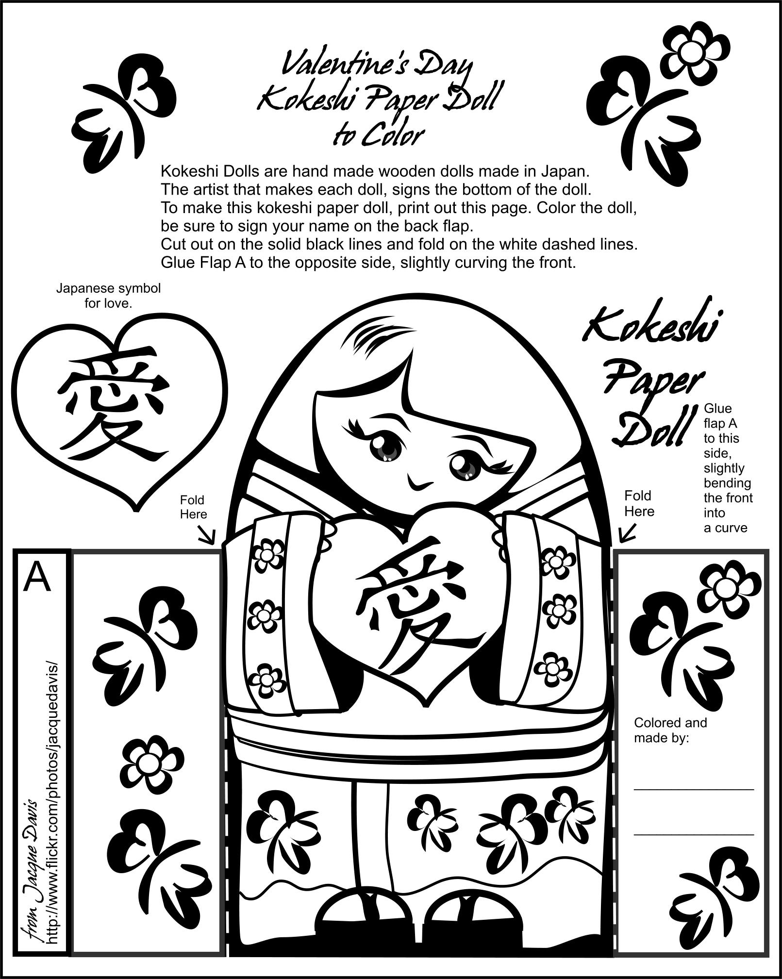 Valentine S Day Kokeshi Paper Doll To Color