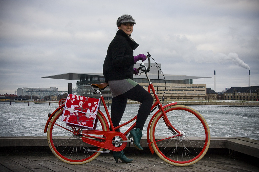 L'américaine et sa bicyclette à Copenhague