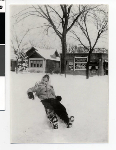Joyce Oglansky playing in the snow, Minneapolis