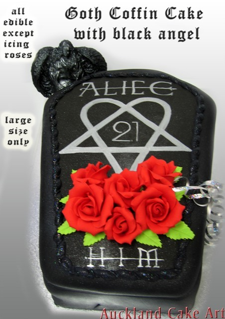 Goth Coffin Black Angel Birthday Cake Gothic Black