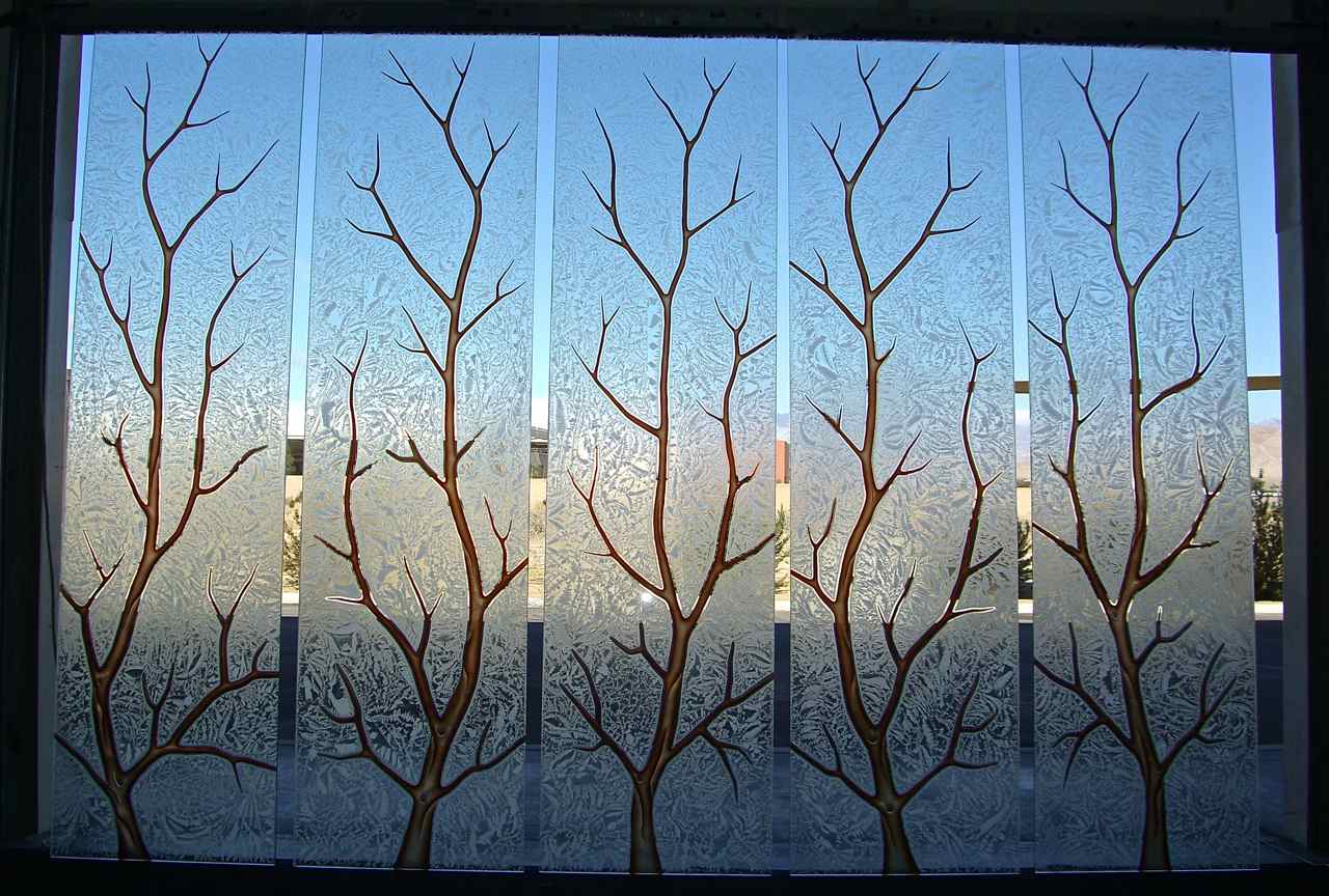 Etched glass windows, carved painted glass Tree Branches