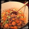 The add the #Carrots & #Celery... Mix well & cover for the #IrishStew w/ #Guinness