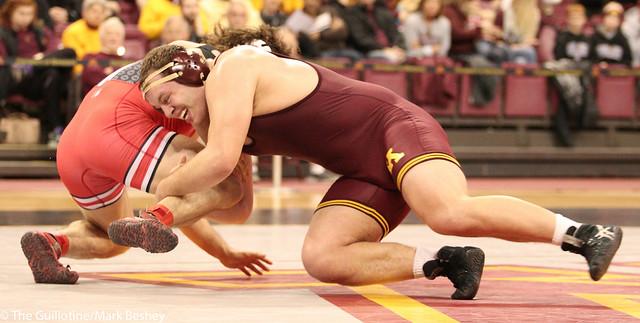 Hwt #8 Michael Kroells (Minnesota) tech fall Josh Fox (Ohio State) 20-5 (7:00)
