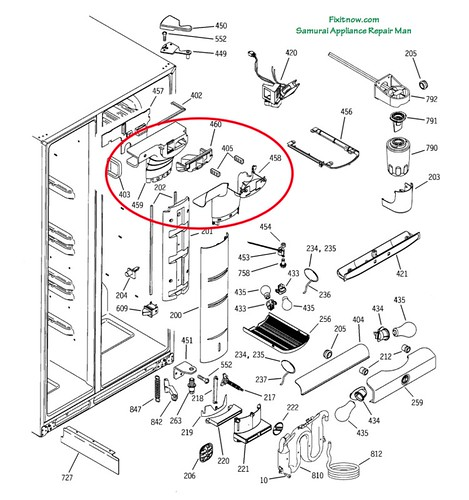 kenmore 106 refrigerator parts diagram dodge ram ignition switch wiring ge profile pss25 fridge breakdown with damper asse… | flickr - photo sharing!