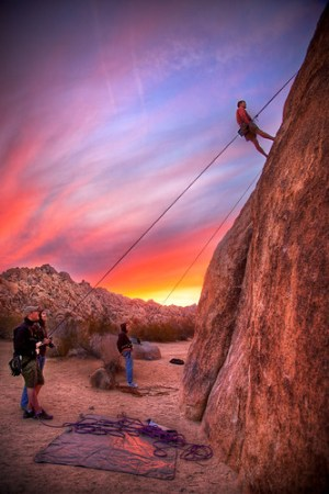 Joshua Tree Rock Climbing at Sunset