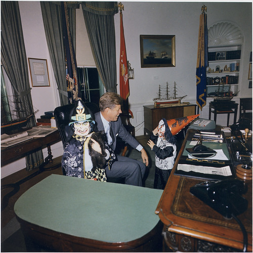 Halloween Visitors to the Oval Office. Caroline Kennedy, President Kennedy, John F. Kennedy, Jr. White House, Oval Office, 10/31/1963