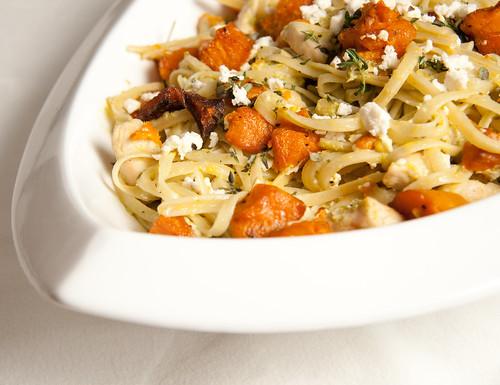 Roasted pumpkin & chicken pasta
