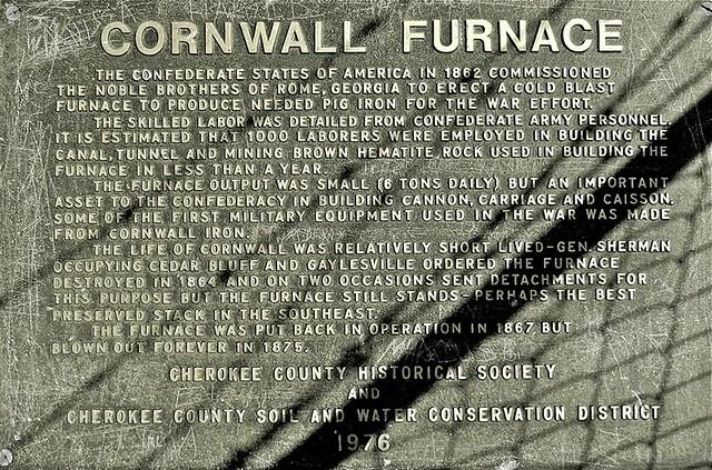 Cornwall Furnace Plaque / Cedar Bluff, Alabama