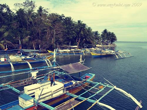 Boats at the bridge to Bolinao, Pangasinan