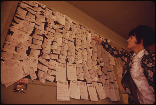 When the Major Home Oil Dealer Ran Out of Fuel a Special Board Was Activated for Emergency Deliveries. More Than 250 Homes Were without Oil. Cards on the Wall List Priorities 10/1973