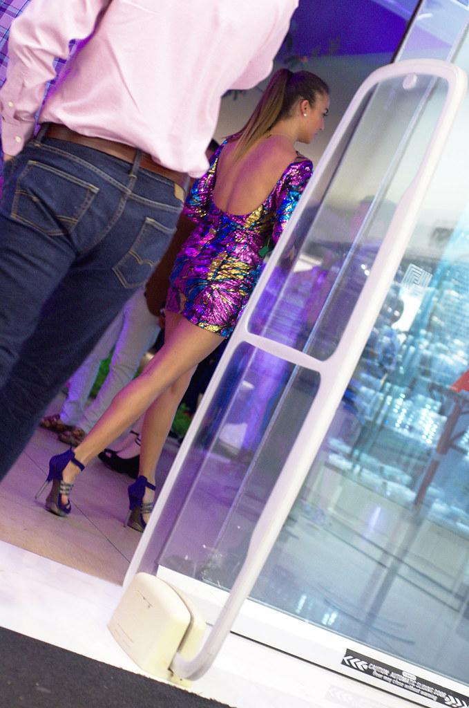 Shiny purple short dress