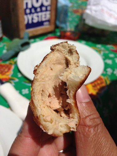 An evilly brilliant idea, pâté on a homemade beignet