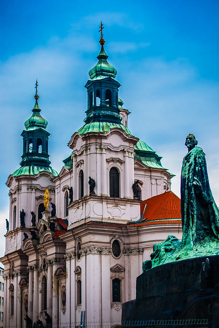 Jan Hus in front of St Nicholas Church, Old Town Square, Prague