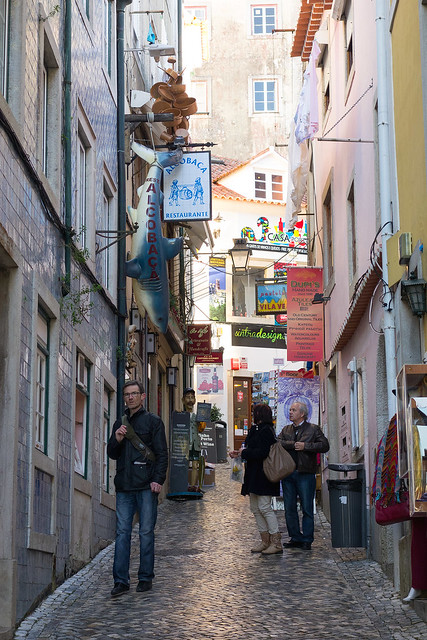 An alley of restaurants, Sintra, Portugal.