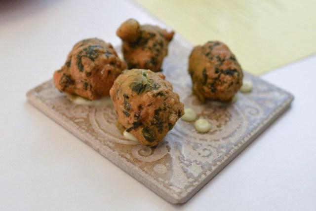 seaweed & tofu beignet, yuzu kosho, lime
