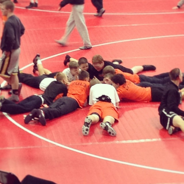 Now they're all just having a little confab between rounds. (Won the last one 66-12) #battleofwaterloo