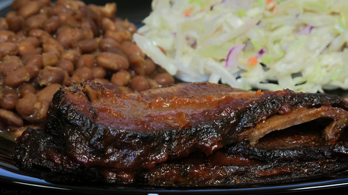 BBQ beef brisket with baked beans and coleslaw by Coyoty