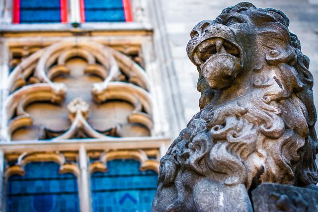 Lion Guarding Markt Square in Bruges