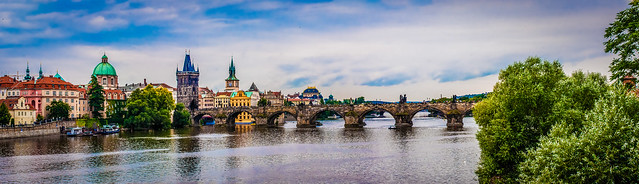 Panoramic shot of Charles Bridge