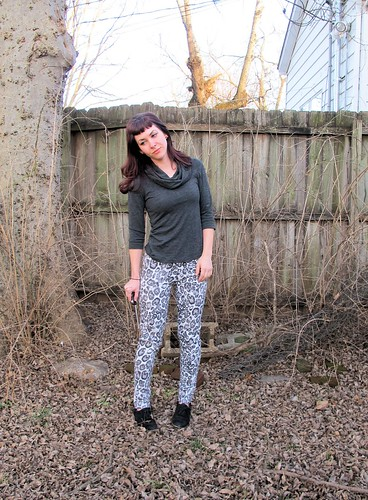 Leopard Skinnies made with stretch twill from Mood Fabrics
