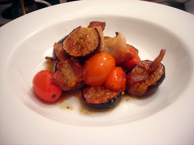 Roasted Black Mission figs, with smoked bacon, heirloom cherry tomatoes and sherry vinaigrette