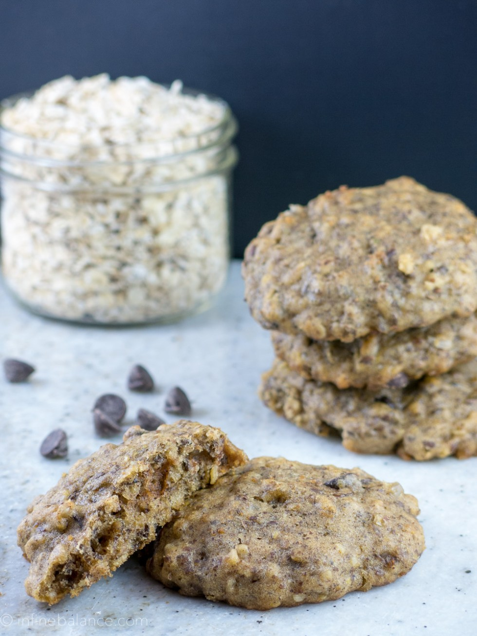 a stack of chocolate chip cookies with oats