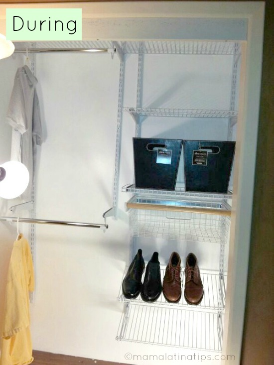Organizing a closet with bins and racks