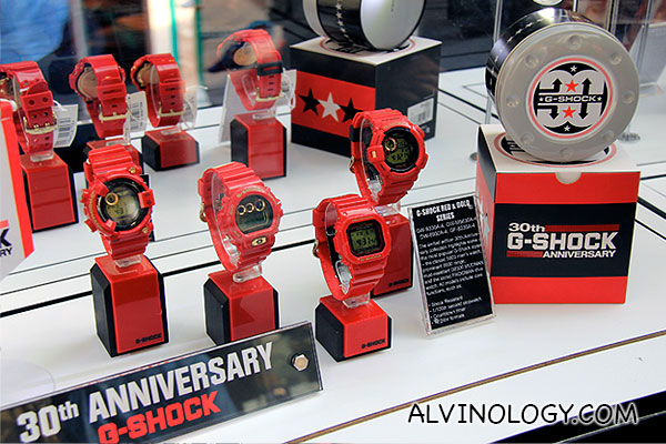 Series of red G-SHOCK watches