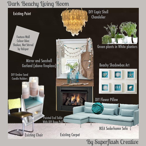 Dark Grey Beachy Living Room Inspiration Board Superflash Creative