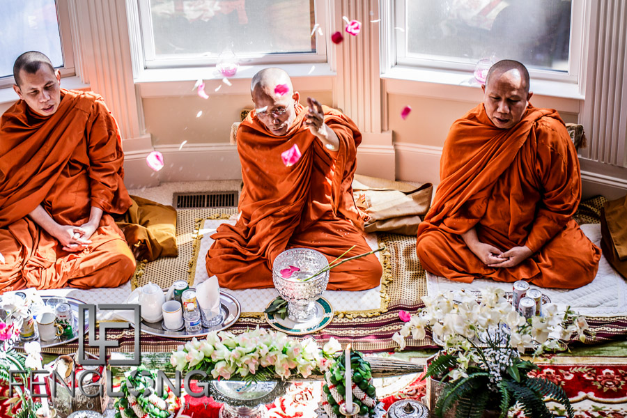 Monks bless the couple at the traditional Cambodian Wedding ceremony in Atlanta