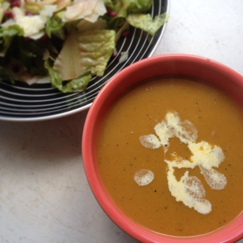 squash soup with curry and coconut milk.