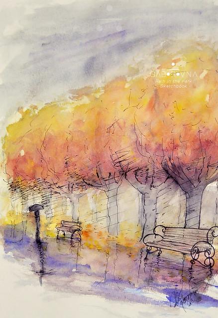 rain in the park - sketchbook