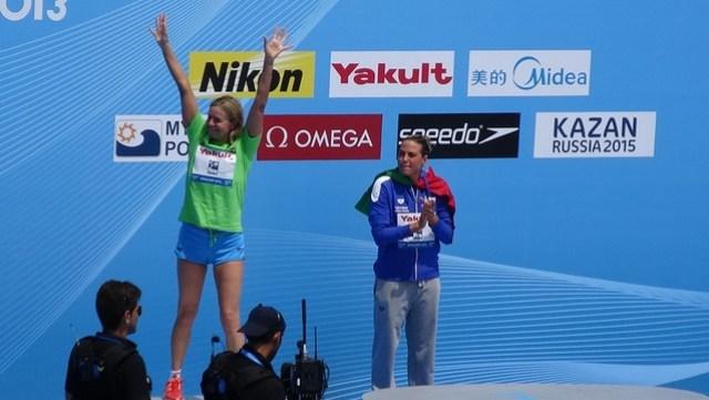 Angela Maurer silver in the BCN2013 women's 25K