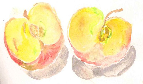 cut apple watercolour