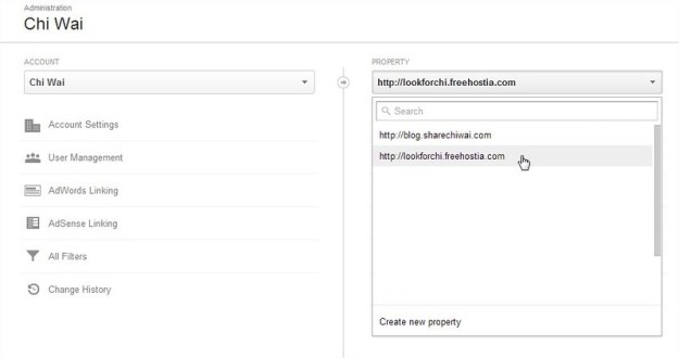 Google Analytic -> Admin-> Property -> select the site you are interested
