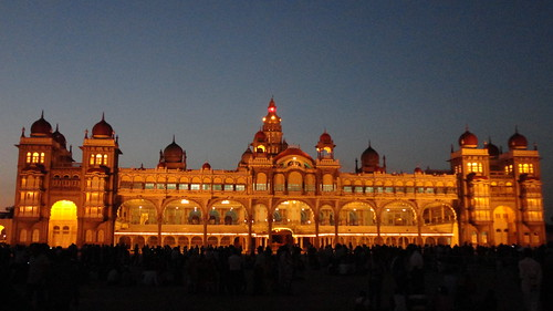 Mysore Palace, just as lights come up