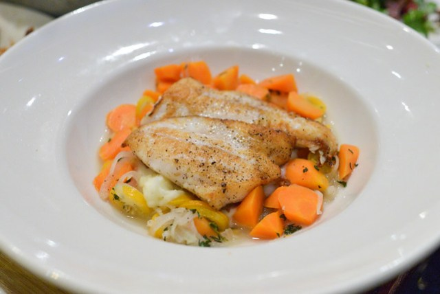 Local Petrale Sole mashed potatoes, carrots