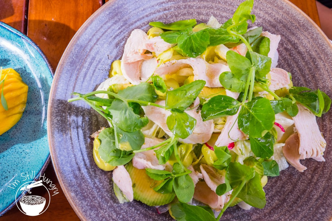 Opera bar Poached chicken, snow peas, radish, avocado & wasabi (mayo?)