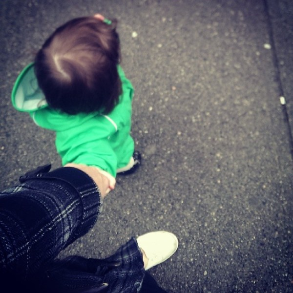 Little green frog & I out for a walk