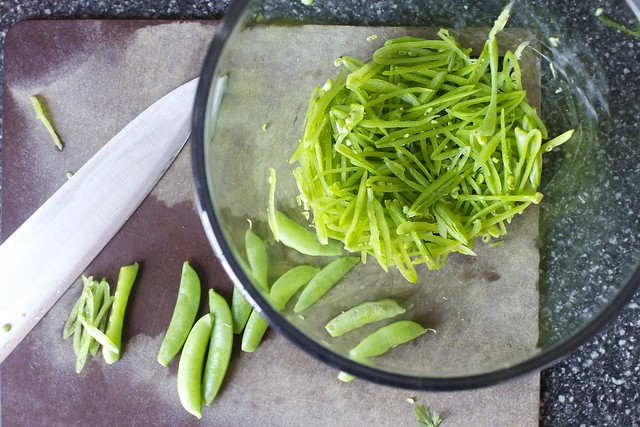 sugar snaps, slivered