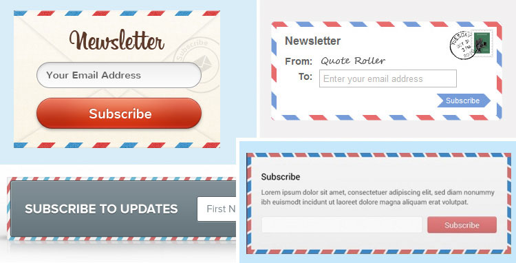 Some pretty cool international envelope style opt-in and subscribe form inspiration for your blog. See more cute and pretty opt-ins at http://DesignYourOwnBlog.com