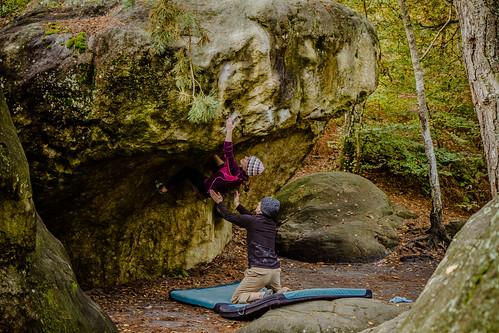 Jackie working Pince-Mi, Pince-Moi (7b+)