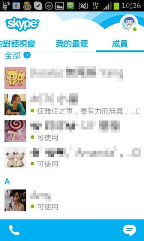 圖四 Contacts成員_所有聯絡人依英文字母或中文筆畫排列