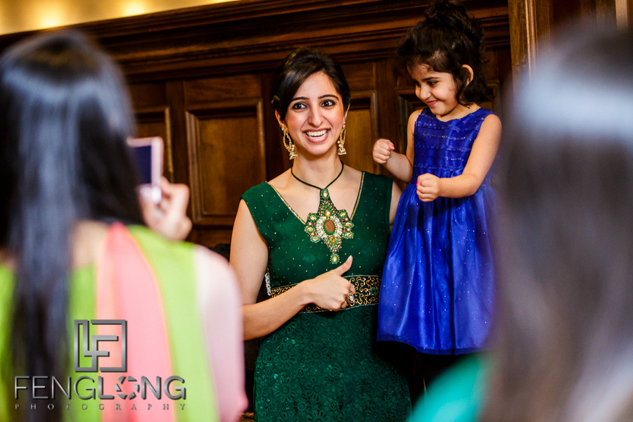 Guest with child at Indian mehndi night
